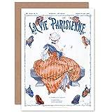 La Vie Parisienne Butterfly Woman Magazine Cover Sealed Greeting Card Plus Envelope Blank Inside París Mariposa Mujer Portada de la Revista Cubrir