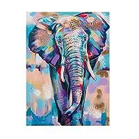 DIHEFAアフリカの野生の象カラフルな落書きアートポスターとプリント動物の絵画リビングルームの壁のアート家の装飾 40x60cmフレームなし