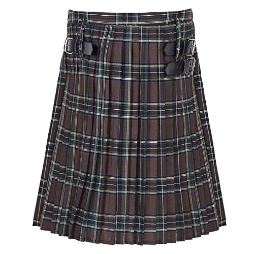 FEESHOW Männer Erwachsene Scottish Kilt Traditional Highland Tartan Kleid Elastischer Bund Plaid Rock Braun 3X-Large