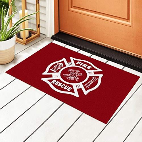 Feuerwehrmann Feuerwehr Feuerrettung Eingang PVC Fußmatte mit rutschfester wasserdichter Unterseite, Bodenmatten für Außentür, Küche, Badezimmer, Innenbereich, 40 x 60 cm