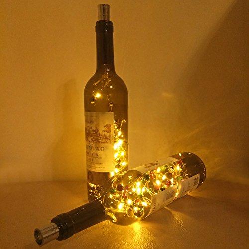 JAYLONG 3 Piezas Tapón De Corcho Botella De Vino LED Luz De Cadena Blanca Caliente con Campanas Creativa Lámpara De La Luz De La Noche Atmósfera Romántica Decoración del Partido