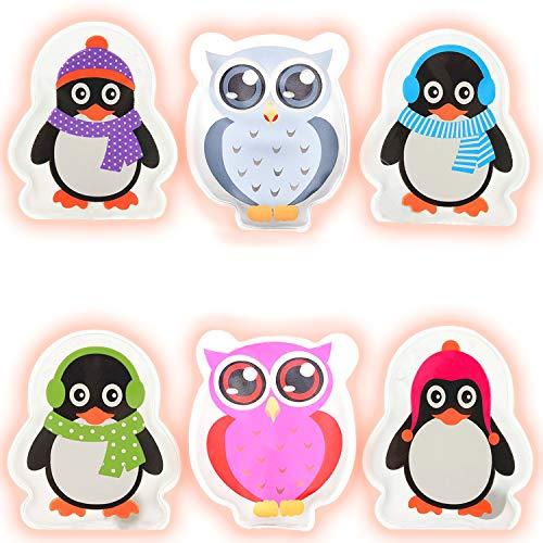 Hook Taschenwärmer handwaermer Kinder handwärmer wiederverwendbar zum knicken 4er-Set Colorful Eule und 2er-Set Penguins Handtaschenwärmer Wärmeknickkissen Heizpad' (Weiß)