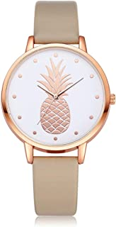 Round Dial Pineapple Style Quartz Wristwatches Women Simple Fashion Hours Watch Luxury Female Leather Belt Wrist Watches