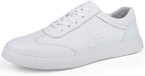 Easy Go Shopping Chaussures de Sport pour Hommes, Chaussures de Sport à Lacets, Style Ox, Cuir, Style décontracté, Texture plissée Chaussures de Cricket (Couleur   Blanc, Taille   40 EU)