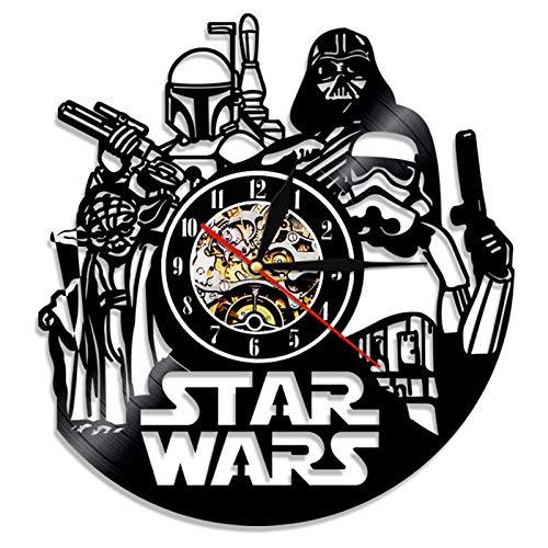 S-Tar W-Ars D-Eath S-Tar Diseñado Reloj De Pared LP Record -Decorate Tu Hogar con Moderno Grande Darth Vader Classic Vintage Art 30Cm Círculo Negro