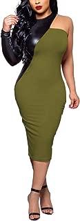 Women's One Shoulder Choker Dress - Elegant Faux Leather Patchwork Bodycon Pencil Midi Dress