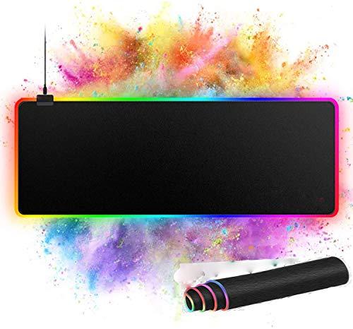 Tappetino Gaming RGB, Tappetino Mouse Gaming RGB con 14 Effetti Luce, Tappetino Mouse XXL (800 X 300 X 4 mm), Superficie Impermeabile e Base in Gomma Antiscivolo, per Giocatori, Computer PC… …
