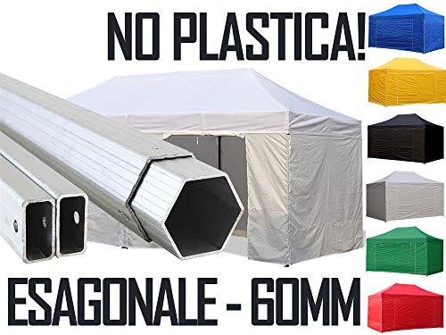 Crivellaro Ingrosso Gazebo Professionale 4x8 8x4 in Alluminio Esagonale 6cm - Impermeabile Pieghevole richiudibile Automatico rapido - Alu ESA 6cm tendone Fisarmonica Fiera Mercato Stand Tenda