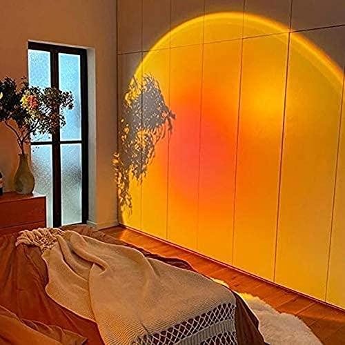 QQWD Proyector De Puesta De Sol, USB Lámpara Puesta De Sol Arcoíris Rotación De 180° Romántico Visual para Sala De Estar, Dormitorio,Red Sunset