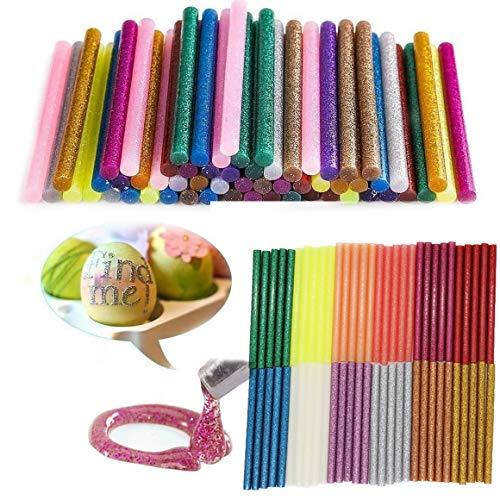 Colla a caldo bastoni,12 colori 60PCS colorato stick di colla mini per pistola a caldo per artigianato d'arte fai-da-te, ornamento per le vacanze (7mm * 100mm)
