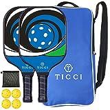 TICCI Pickleball Paddle USAPA Approved Set 2 Premium Graphite Craft Rackets Honeycomb Core 4 Balls...