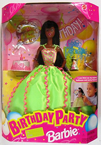 Birthday Party Barbie Doll AA - Doll Can Blow Up Mylar Balloons & Party Favor! (1998)