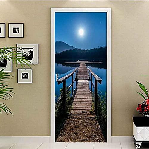 NXCNTD Papel Pintado de Puertas 3D Vista del lago azul cielo estrellado Autoadhesivo Impermeable Vinilos Puertas Pegatinas Para Decorativos Para la Puertas interior del Dormitorio Navidad Murales 77x2