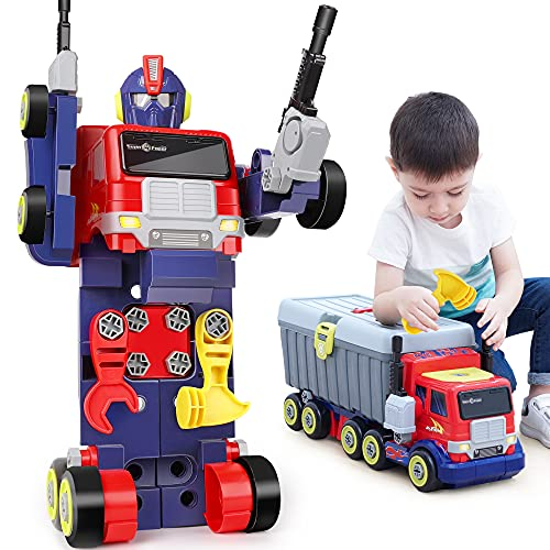 iPlay, iLearn 3 in 1 Kids Large Transformer Toy, Big Construction Truck Set Transform Take Apart Robot Figure, Building Tool Bench, Summer Holiday, Birthday Gift for Age 3 4 5 6 7 8 Year Old Boy Child