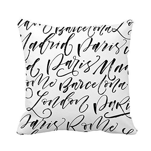 521 Almohada Cubierta Poliéster Funda Decorativa para Cojín Nombres De Ciudades Paris Madrid Barcelona Roma London Ink Fundas Cojín para Coche Sofá Cumpleaños, 45X45Cm