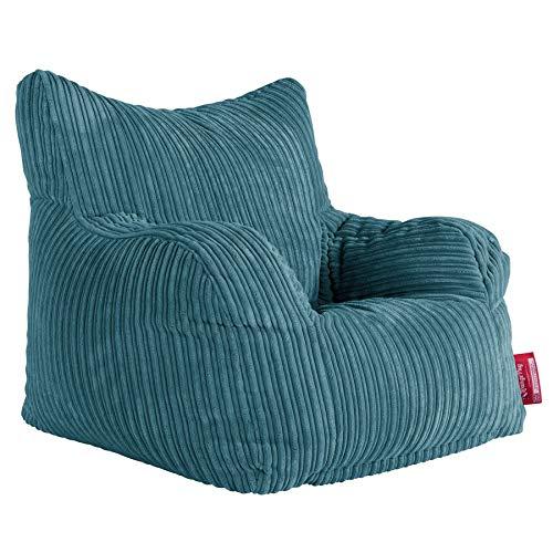Lounge Pug, Sitzsack Ohrensessel mit Hocker, Cord Türkis