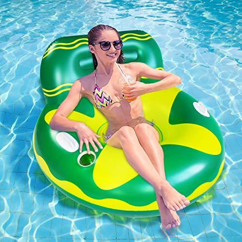 Flotador para adultos, flotador hinchable con respaldo y soporte para bebidas, juguete hinchable para adultos y niños, con asas para mayor seguridad (verde del sofá)