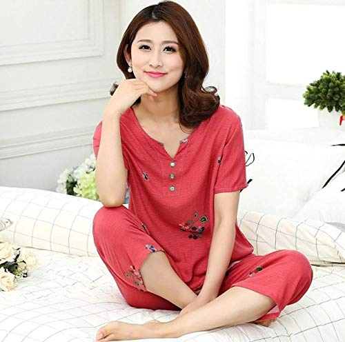 JFCDB Nachthemd Plus size nieuwe vrouwelijke pyjama set nachtkleding vrouwen katoen linnen print bloem pyjama zomer casual losse nachtkleding homewear, stijl 5, xl