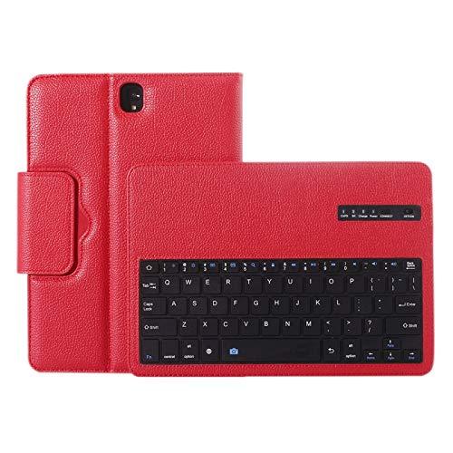 Teclado de computadora MJYGV para Galaxy Tab S3 9.7 / T820 2 en 1 Estuche de Cuero de la Textura de la Textura del Teclado de Bluetooth Desmontable con el Titular MJ (Color : Red)