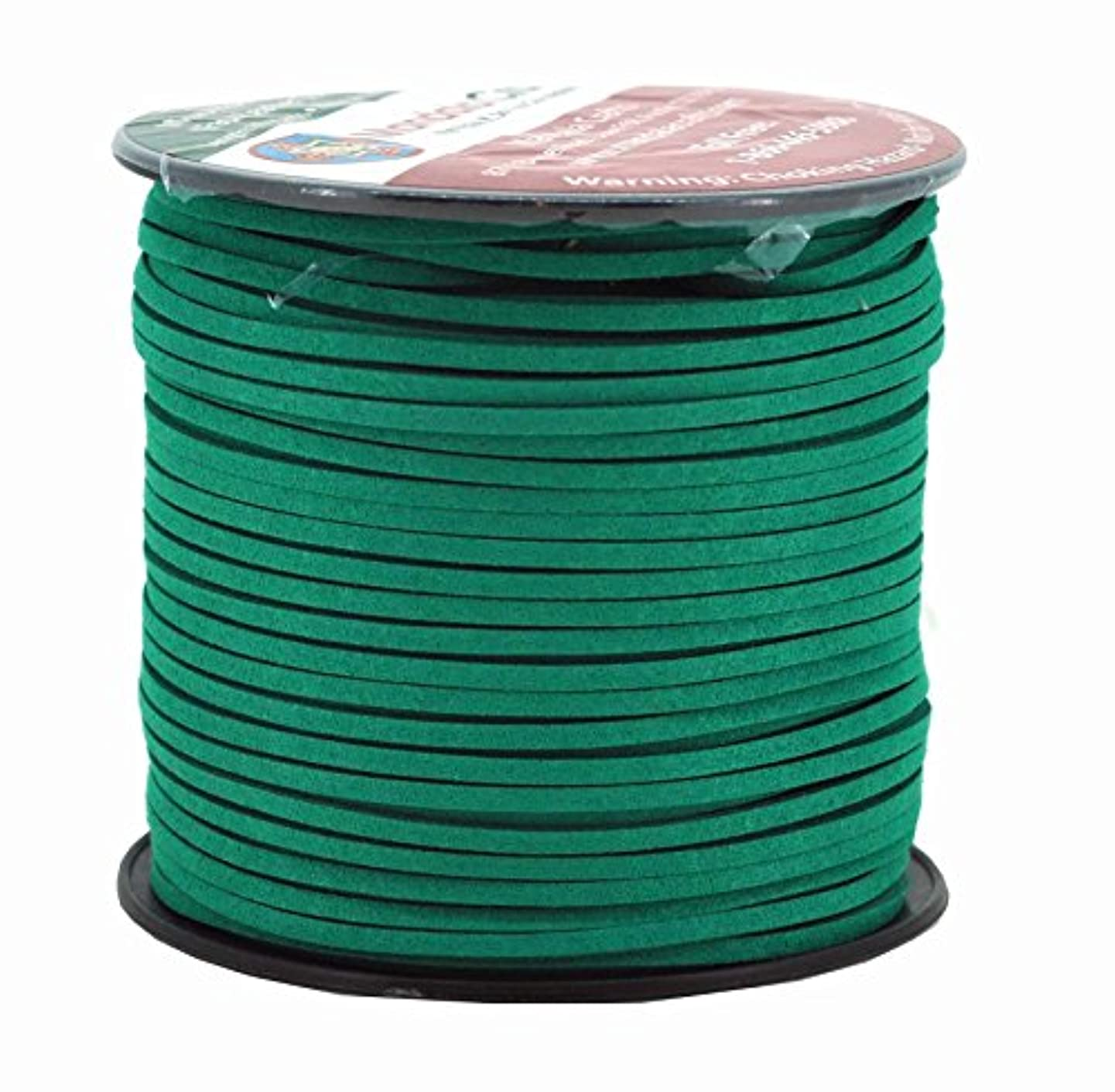 Mandala Crafts 100 Yards 2.65mm Wide Jewelry Making Flat Micro Fiber Lace Faux Suede Leather Cord (Jungle Green)