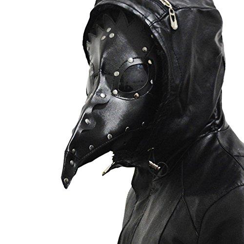 Plague Masque Cosplay Costume Docteur Adulte Noir PU cuir Halloween Masques Mascarade