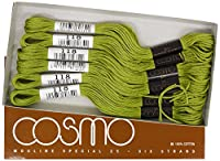 cosmo 25番刺しゅう糸 8m束 Col.118 黄緑 系 1箱 6束入り