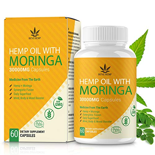 Moringa Powder Capsules with Natural Oil, Rich in Nutrients and Antioxidants, 30000mg 60 Capsules, 100% Vegan