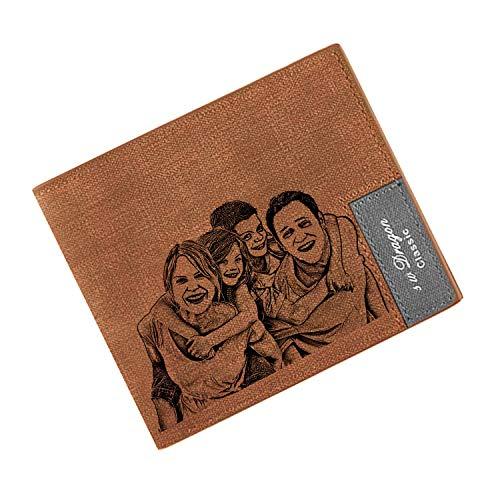 Billetera Personalizada para Los Hombres, Carteras de Fotos Personalizadas, Cartera de Tarjetas de Bloqueo RFID para el Regalo del día del Padre (marrón)
