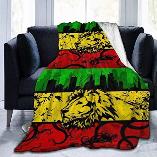 Manta Siesta Felpa Sofás Franela Queen Size 150X200CM Cover Lion Jamaica Reggae Cover Home Garden Velvet Micro Office Chair Wrap para Asiento Coche 80'x60' Buen sueño Warm Lightweight Fleece Blanket