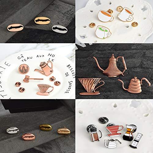 SHAOWU Kaffee Set Emaille Pins Tee-Set Kaffee-Bohnen Broschen Kupfer Teekanne Revers Pin Abzeichen Shirt Tasche Schmuck Kaffeeliebhaber Geschenk Style1
