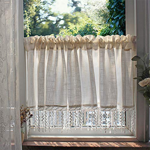 YCMY Cotton Linen Kitchen Curtains Retro Style Cafe Curtains White Hand-Crocheted Tassel Short Curtains for Home Window Decoration.