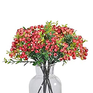 JD Artificial Plants 8 Pack 11 Inch Artificial Berry Stems Shrub Holly Branch for Home Decor Wedding Bouquet Christmas Trees (Fuschia)
