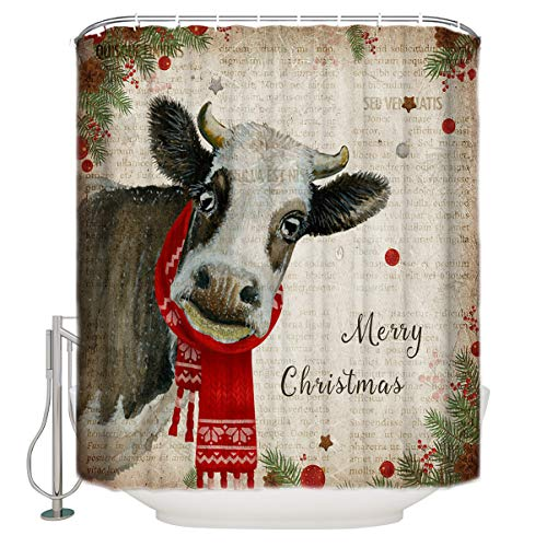 """YOKOU Bath Shower Curtain, Merry Christmas Cattle Pine Cones Country Style Retro Newspaper Water Repellent Polyester Bath Curtains with Hooks for Showers Stalls Bathtubs, 72""""x72"""""""