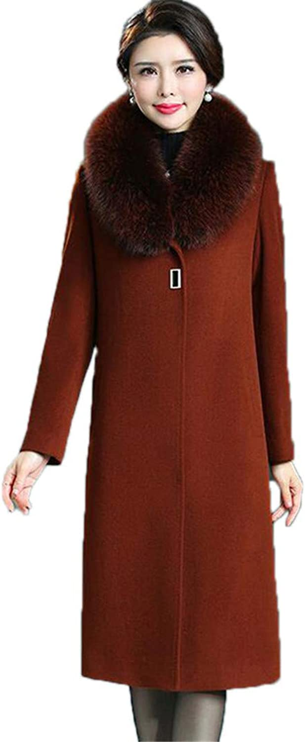 Beltnossnk Fur Collar SingleBreasted Long Women Outerwear Warm Slim Woolen Jackets