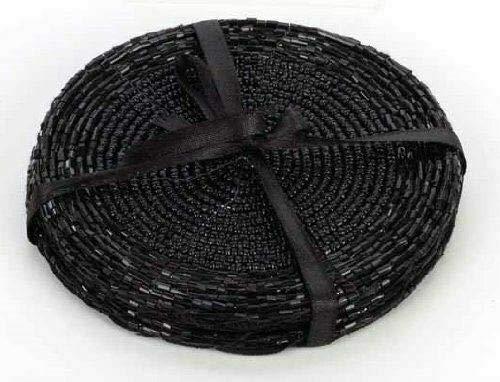 The Home Fusion Company Untersetzer oder Platzdeckchen, mit Perlen, Schwarz 4 Untersetzer.