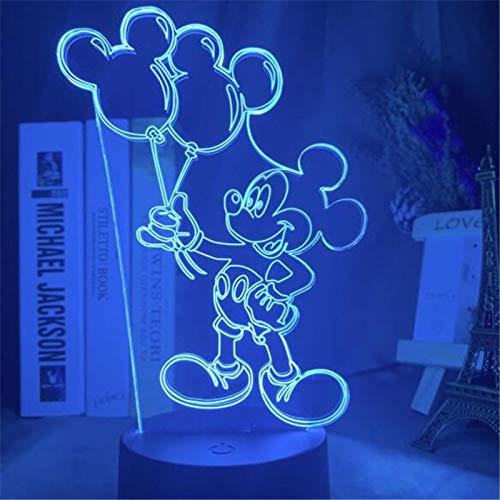 Disney Cartoon 3D Nachtlicht Minnie Mickey Maus Acryl Touch Light 3D Illusion Lampe Schlafzimmer Dekorative Tischlampe Kind Geschenk 2 16colorwithremote