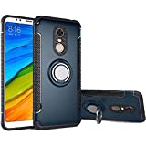 Xiaomi Redmi 5 Plus Case, Ranyi [2 Piece Ring Cover] [Adsorbed Iron Plate] [360 Rotating Metal Ring] Premium Hybrid Dual Layer 360 Full Body Protective 2 in 1 Case for Xiaomi Redmi 5 Plus (Navy)