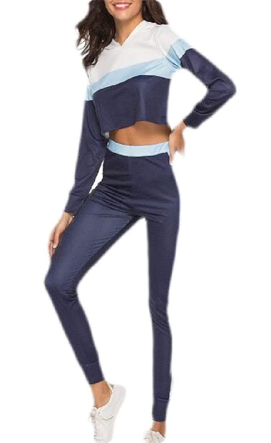 八百屋つなぐミキサーWomen Collision Color Sport Bodycon Crop Top Long Skinny Pant Set Tracksuit
