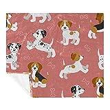 Manta de forro polar, ligera, suave, acogedora, de microfibra para adultos y niños, cachorros Beagle Dálmata.