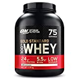 Optimum Nutrition Gold Standard 100% Whey Proteína en Polvo, Glutamina y Aminoácidos Naturales, BCAA, Sin Sabor, 75 Porciones, 2.25kg, Embalaje Puede Variar