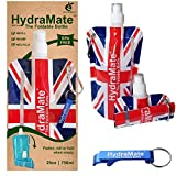 FOLDABLE WATER BOTTLE - BPA Free. Union Jack, GB Olympic Collapsible 750ml. Lightweight, Soft, Squeezable, Folding Bottle for Travel, Festivals. Sports Cap, Hygienic Lid. Refillable. Carabiner Clip.