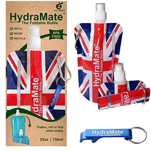 HydraMate Faltbare, Wasserflasche. BPA-frei, 750ml Leichte, umweltfreundliche, nachfüllbare Flasche mit Sportverschluss und hygienischem Deckel. Mit Karabiner und Flaschenöffner