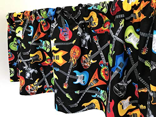Valance Electric Guitars on Black Background Window Treatment Topper