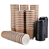 Bekith 80 Pack 8 Oz Disposable Paper Cup with Lids, Double Walled Hot Cups for Coffee, Tea, Cocoa Drinks(Include 80 Cups and 100 Lids)
