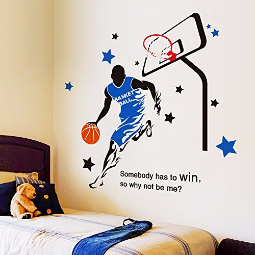 Wall Sticker Collage University School masculino ornamento de pared del Dormitorio Dormitorio Deportes Baloncesto Estrellas Fan Cesta de 113x114cm.