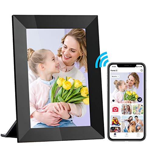 Hyjoy WiFi Digital Picture Frame 8 Inch Smart Digital Photo Frame with IPS Touch Screen HD Display, 8GB Storage Easy Setup to Share Photos or Videos Anywhere via Free AiMOR APP, Auto-Rotate (Black)
