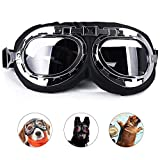 Tylu Dog Goggles Steampunk Adjustable Windproof Dustproof Fogproof for Travel Skiing UV Eye Protection Motorcycle Sunglasses for Medium or Large Dogs