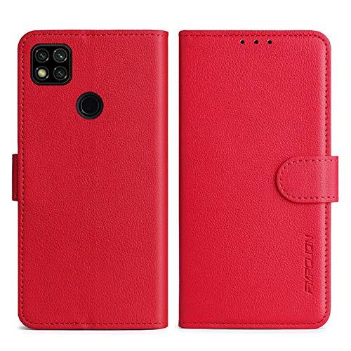FMPCUON Handyhülle Kompatibel mit Xiaomi Redmi 9C Hülle Leder PU Leder Tasche,Flip Hülle Lederhülle Handyhülle Etui Handytasche Schutzhülle für Redmi 9C,Rot