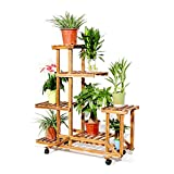 Rolling Plant Stand with Wheels Natural Wood 6 Tier Plant Shelf Indoor Outdoor Flower Pot Display Rack Holder Patio Stand for Home Garden Decor