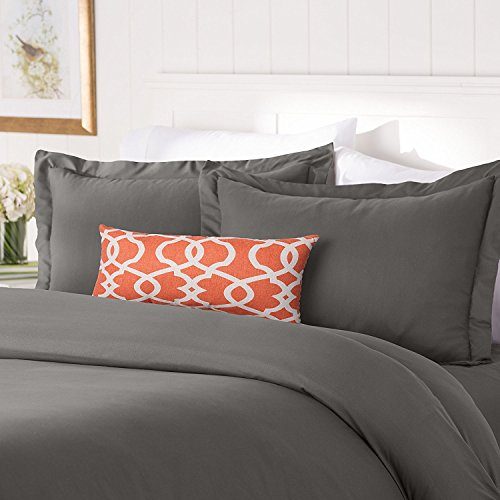 Elegant Comfort #1 Best Bedding Duvet Cover Set! 1500 Thread Count Egyptian Quality Luxurious Silky-Soft Wrinkle Free 3-Piece Duvet Cover Set, Full/Queen, Gray